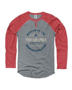 Adult Philadelphia ''Road to Independence'' Long Sleeve Henley Tee