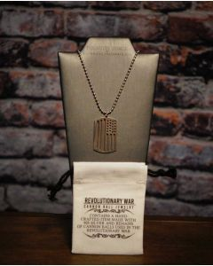 Revolutionary War Cannon Ball American Flag Dog Tag Necklace